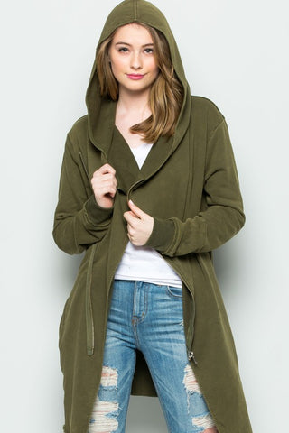 Olive Long Sleeve Jacket Two Way Long Cardigan Jacket