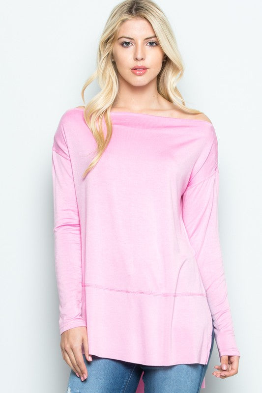 Pink boat neck long sleeve top