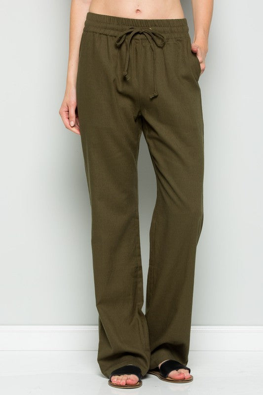 LINEN DRAWSTRING WIDE LEGGED PANTS
