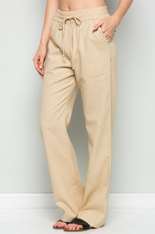 SUMMER LINEN DRAWSTRING WIDE LEGGED PANTS