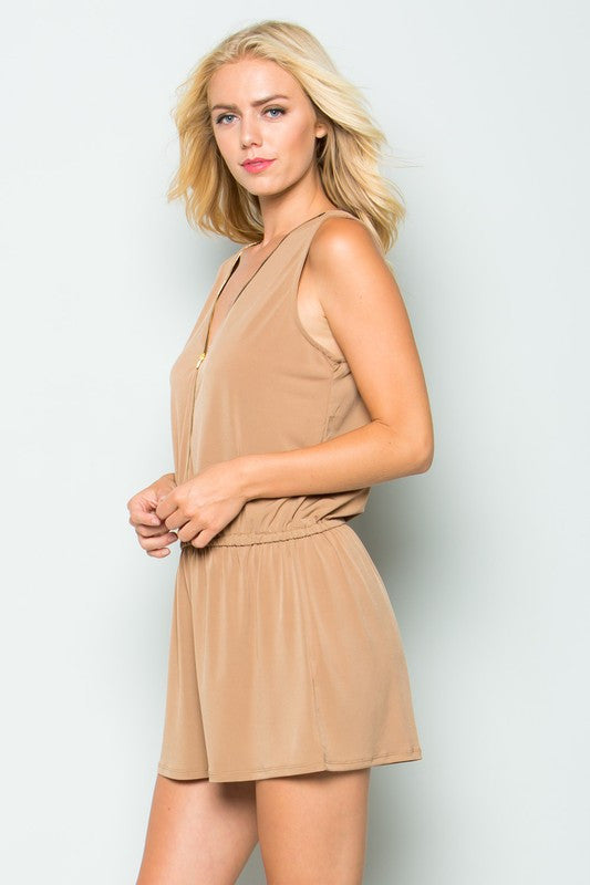 Sleeveless Front Zip-Up, Cinched Waist Romper