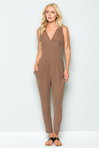 STRETCHY KNIT SURPLICE JUMPSUIT