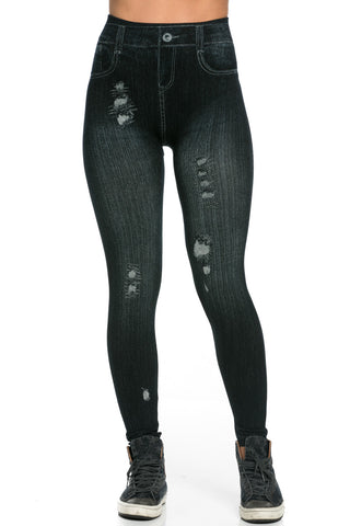 Denim Print Seamless Jeggings Black - Leggings - My Yuccie - 1