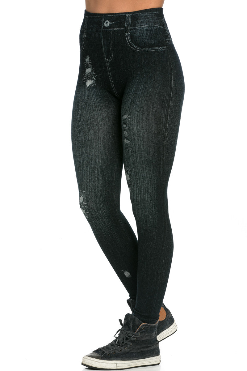 Denim Print Seamless Jeggings Black - Leggings - My Yuccie - 3