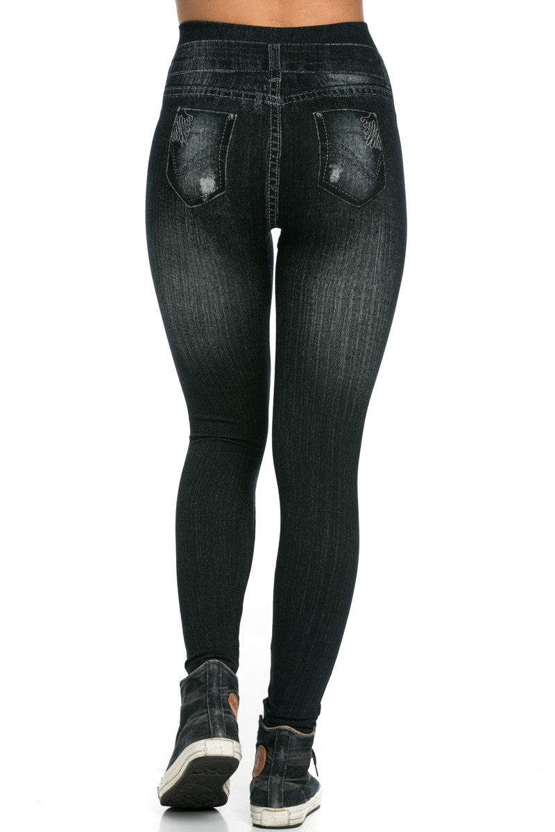 Denim Print Seamless Jeggings Black - Leggings - My Yuccie - 5
