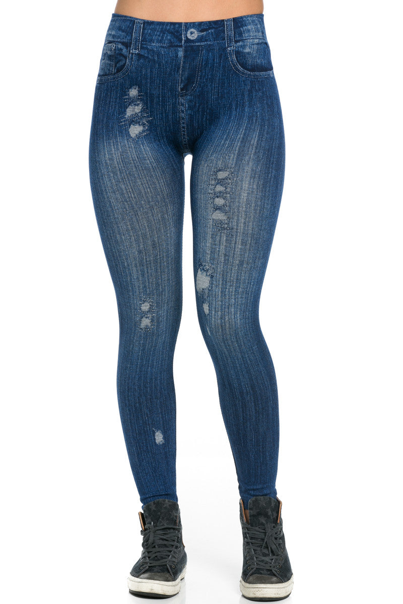 Denim Print Seamless Jeggings Blue - Leggings - My Yuccie