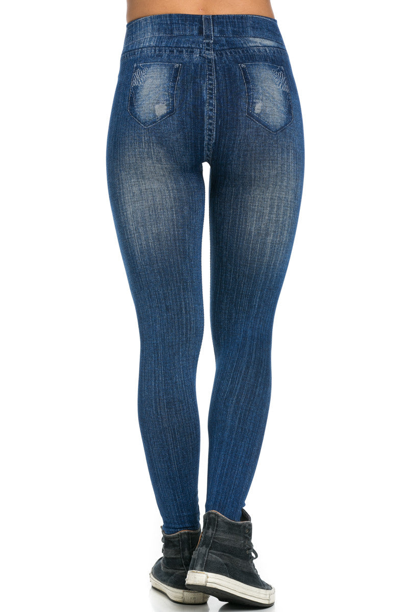 Denim Print Seamless Jeggings Blue - Leggings - My Yuccie - 4