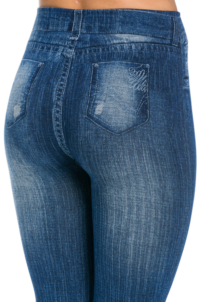 Denim Print Seamless Jeggings Blue - Leggings - My Yuccie - 8