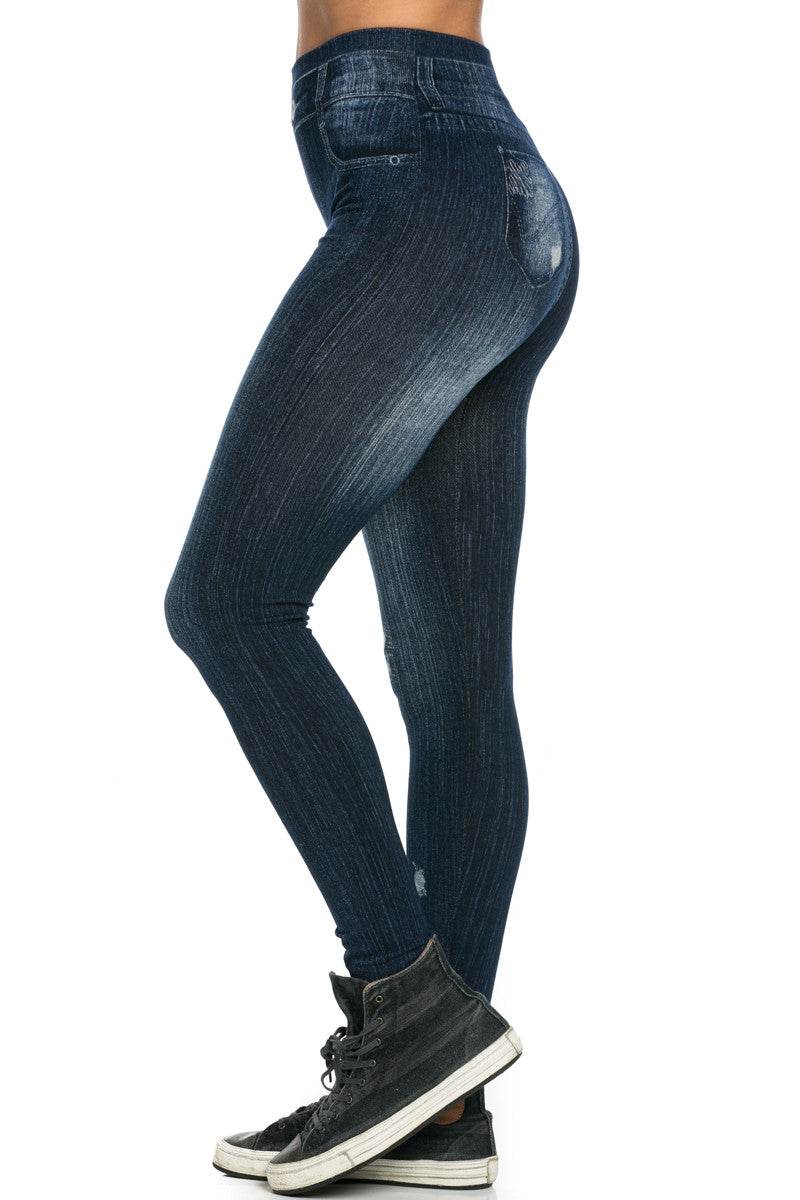 Denim Print Seamless Jeggings Dark Blue - Leggings - My Yuccie - 3