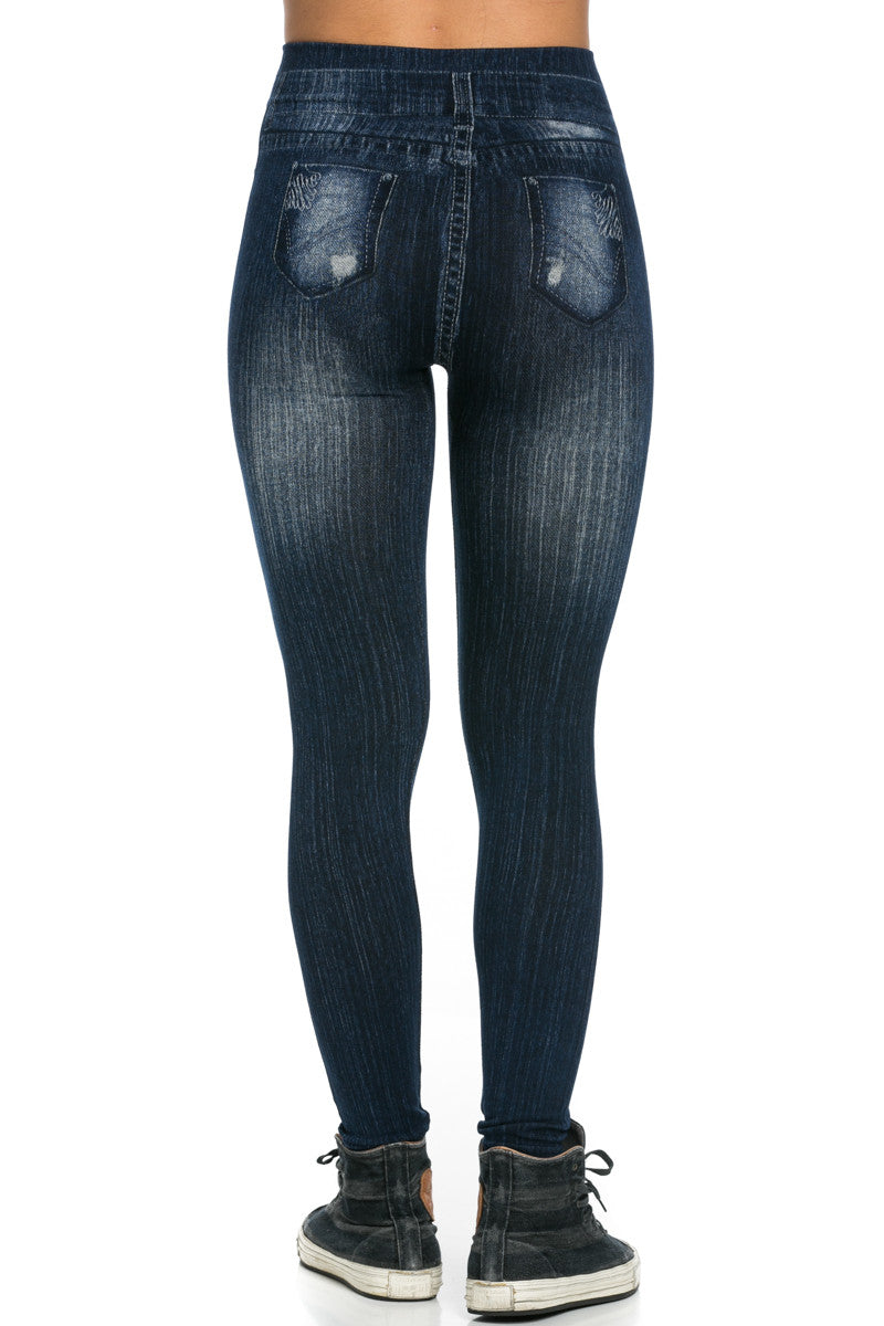 Denim Print Seamless Jeggings Dark Blue - Leggings - My Yuccie - 4