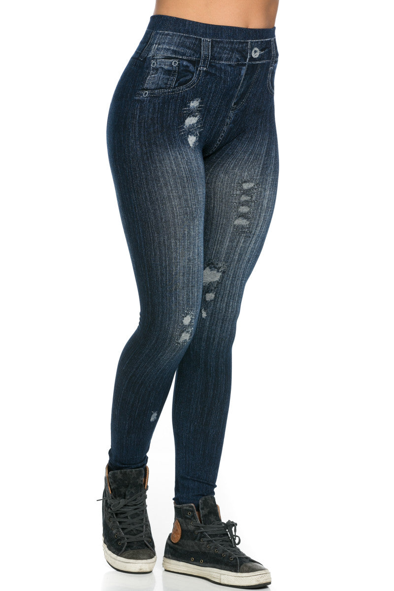 Denim Print Seamless Jeggings Dark Blue - Leggings - My Yuccie - 6