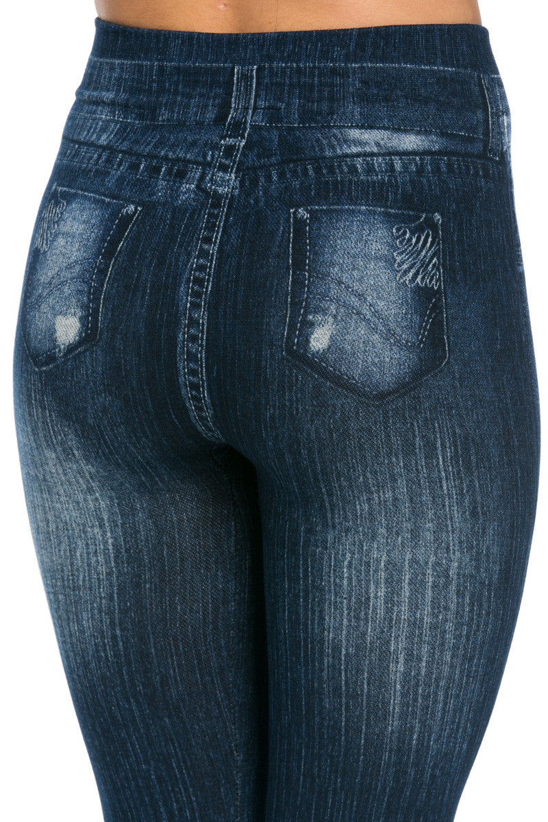 Denim Print Seamless Jeggings Dark Blue - Leggings - My Yuccie - 8