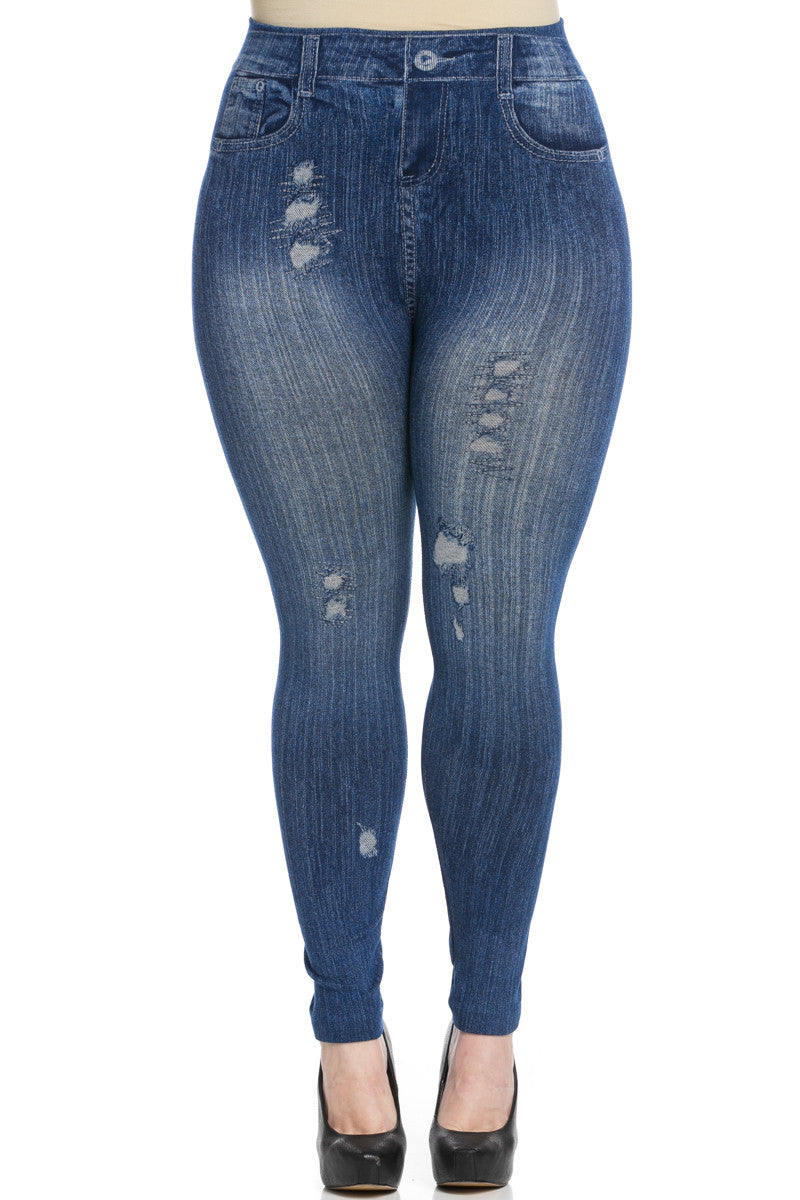 Denim Print Seamless Jeggings Plus Size Blue - Leggings - My Yuccie - 1