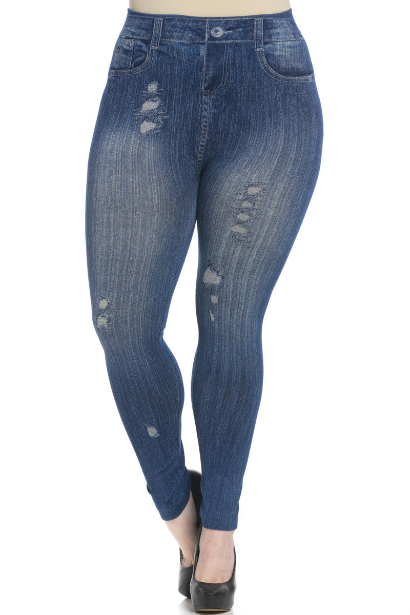 Denim Print Seamless Jeggings Plus Size Blue - Leggings - My Yuccie - 2