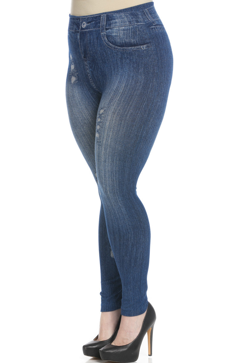 Denim Print Seamless Jeggings Plus Size Blue - Leggings - My Yuccie - 3