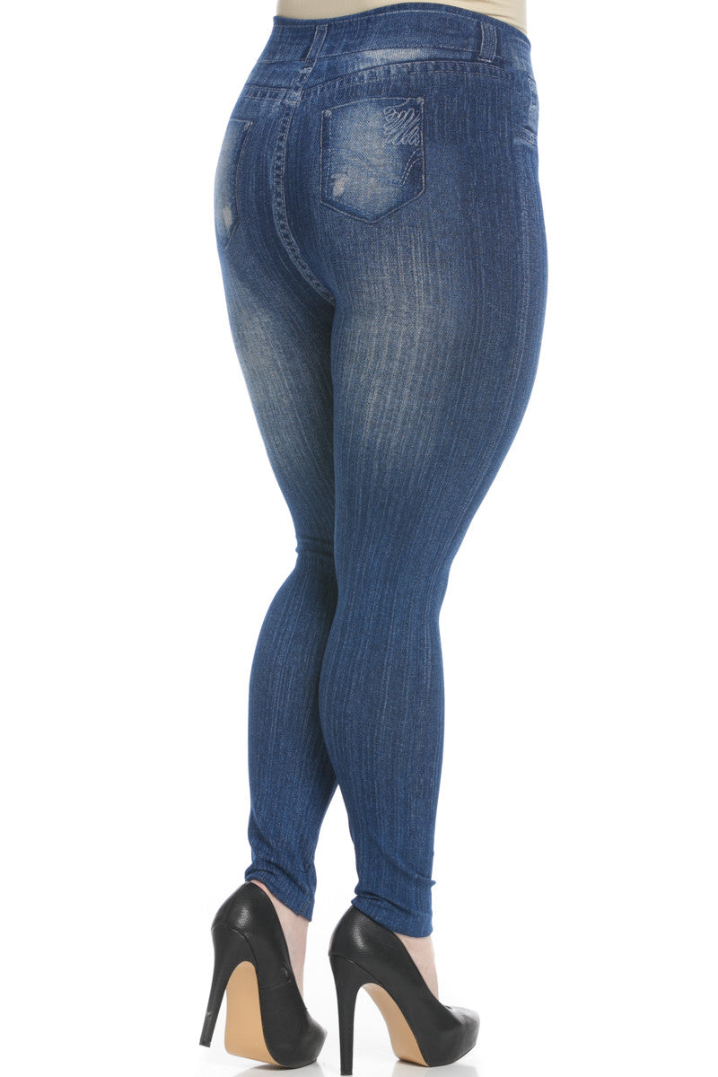 Denim Print Seamless Jeggings Plus Size Blue - Leggings - My Yuccie - 5