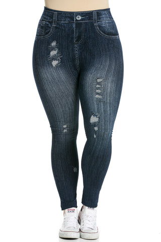 Denim Print Seamless Jeggings Plus Size Dark Blue - Leggings - My Yuccie - 1