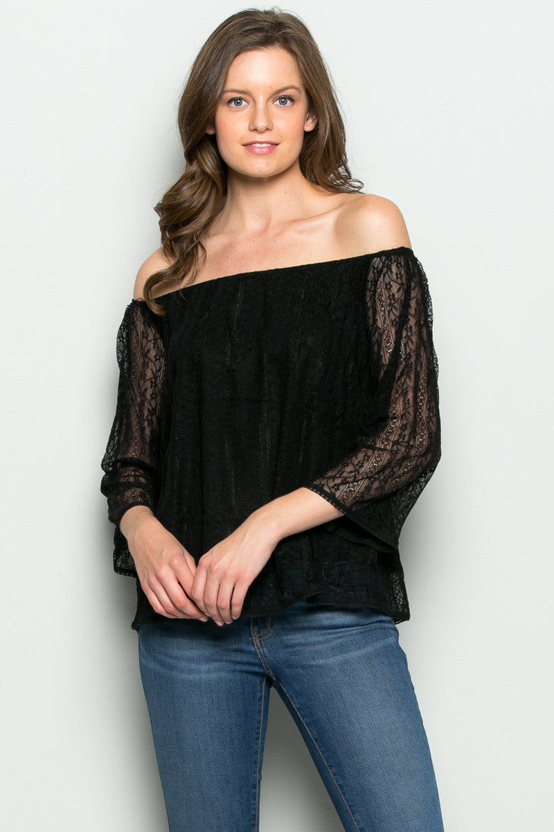 Hope Floats off Shoulders Lace Blouse Black - Blouses - My Yuccie - 1