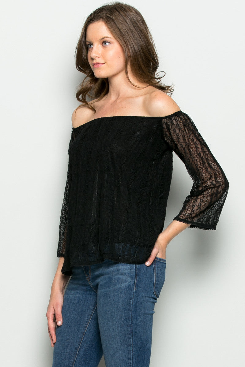 Hope Floats off Shoulders Lace Blouse Black - Blouses - My Yuccie - 2