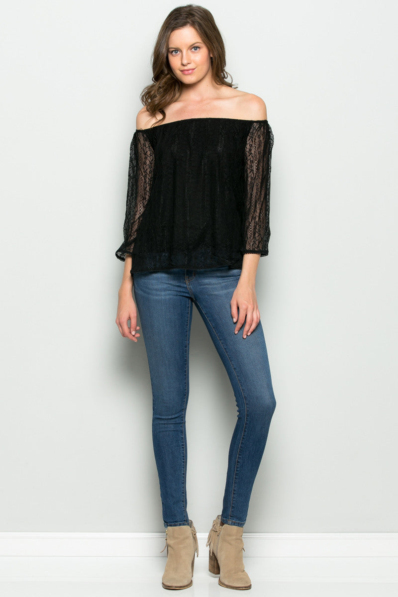 Hope Floats off Shoulders Lace Blouse Black - Blouses - My Yuccie - 4