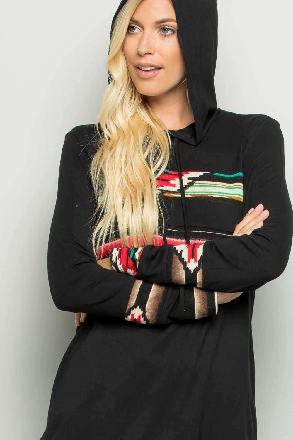 Black Aztec Hooded Top