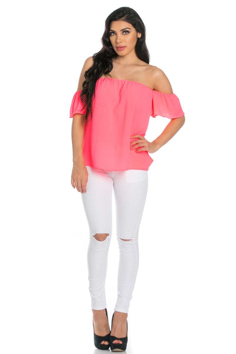 Short Sleeve Off the Shoulder Flowy Neon Pink Top