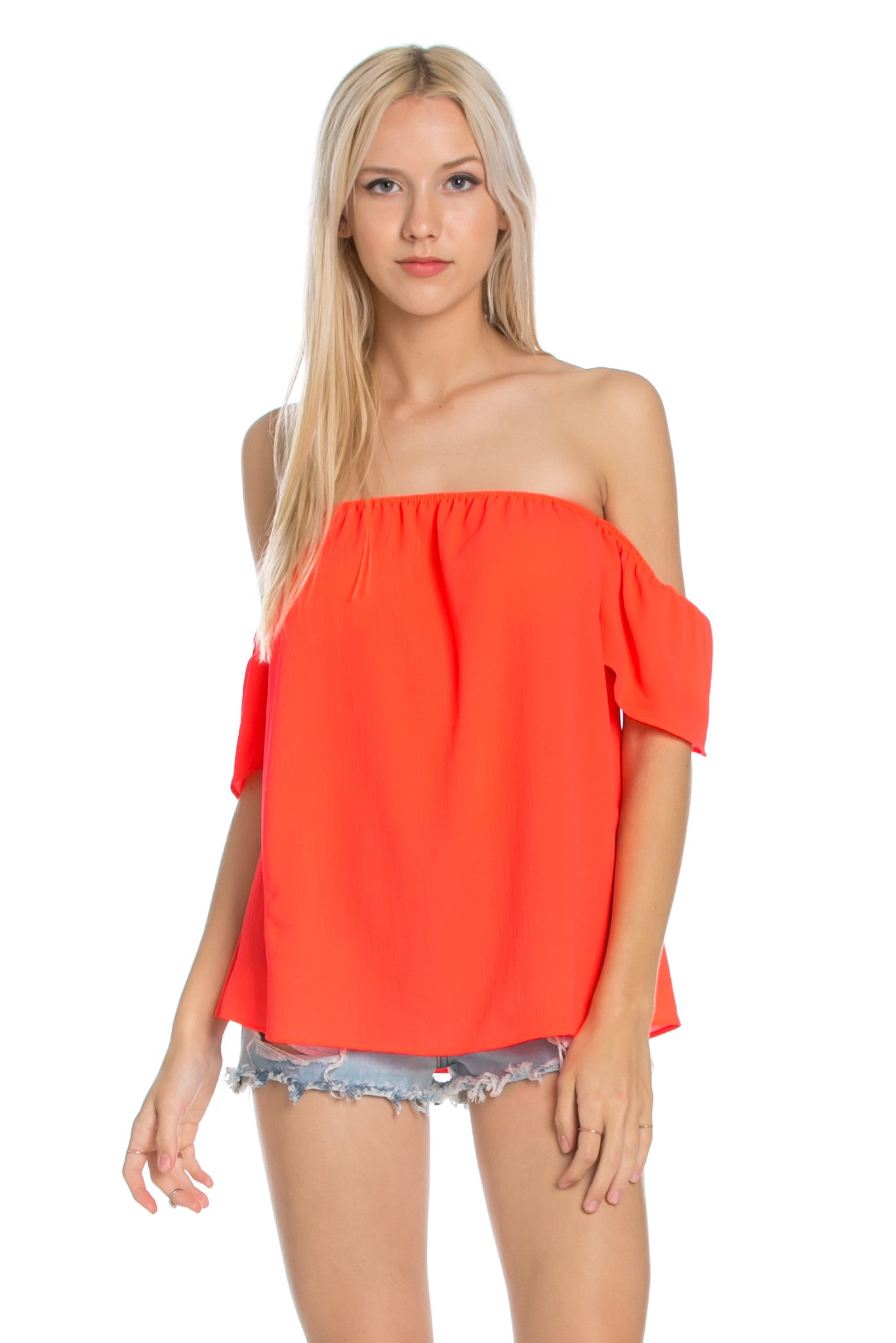 Short Sleeve Off the Shoulder Flowy Coral Top - Tops - My Yuccie - 1