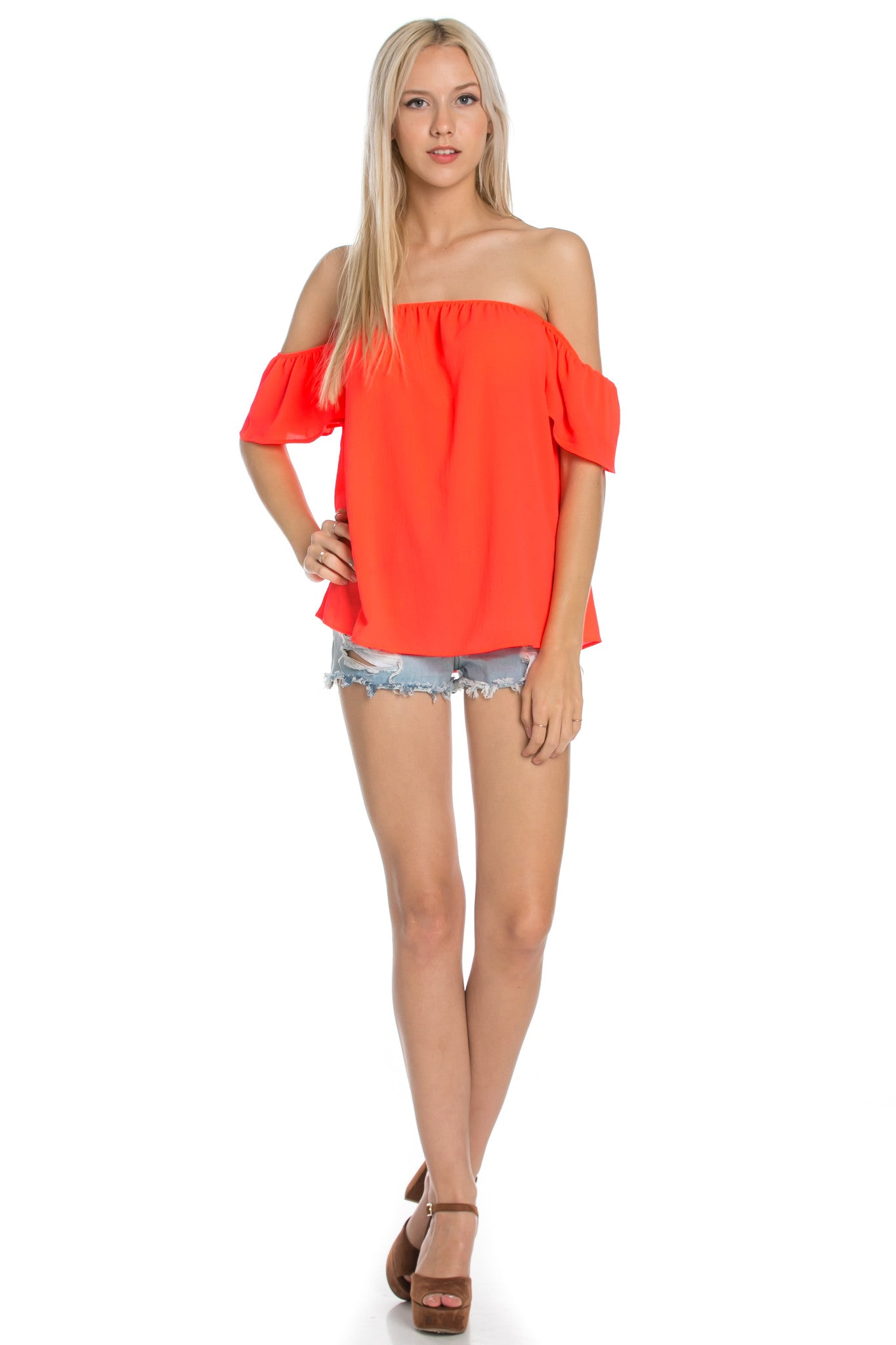 Short Sleeve Off the Shoulder Flowy Coral Top - Tops - My Yuccie - 2