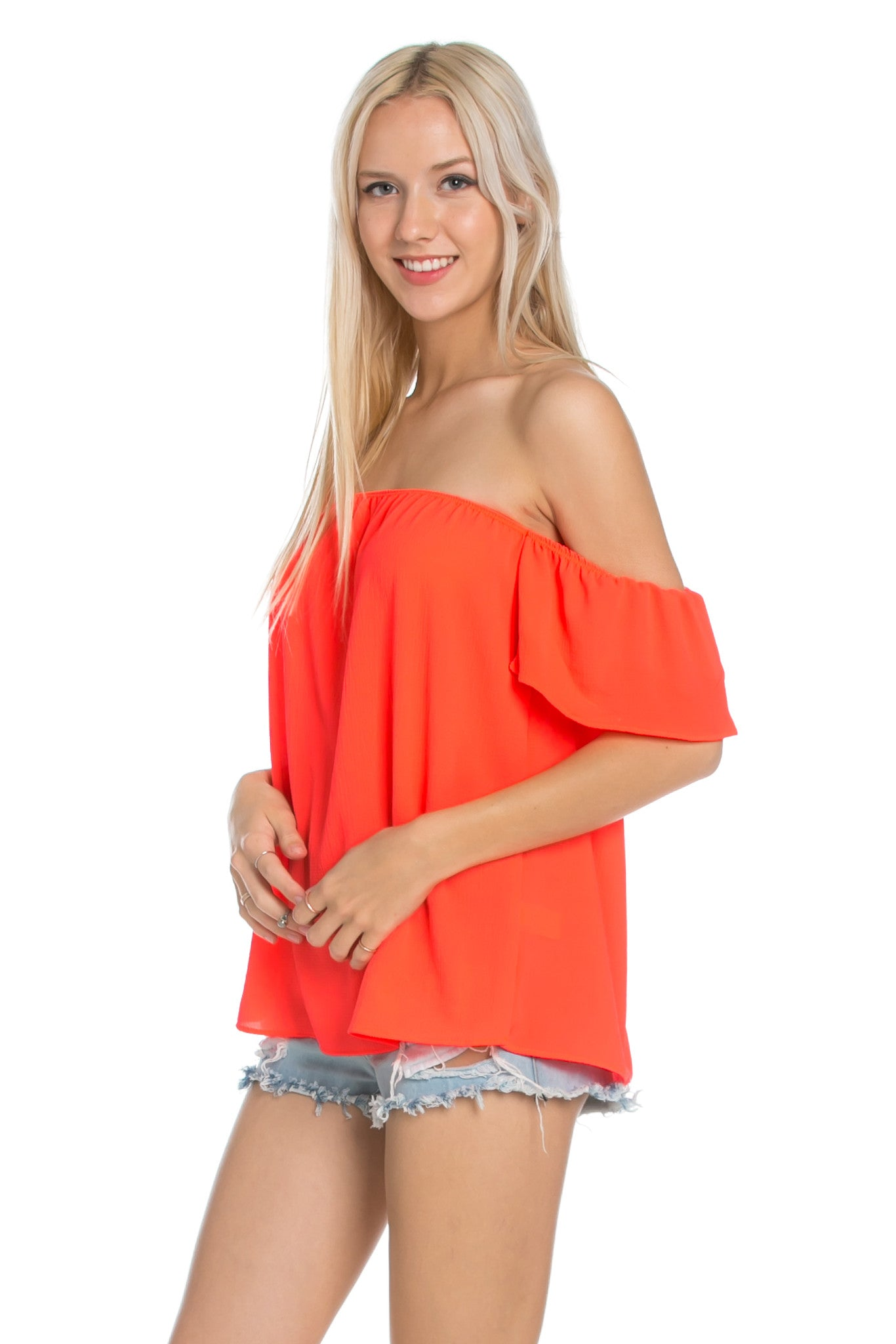 Short Sleeve Off the Shoulder Flowy Coral Top - Tops - My Yuccie - 3