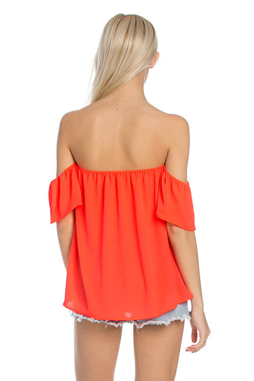Short Sleeve Off the Shoulder Flowy Coral Top - Tops - My Yuccie - 4