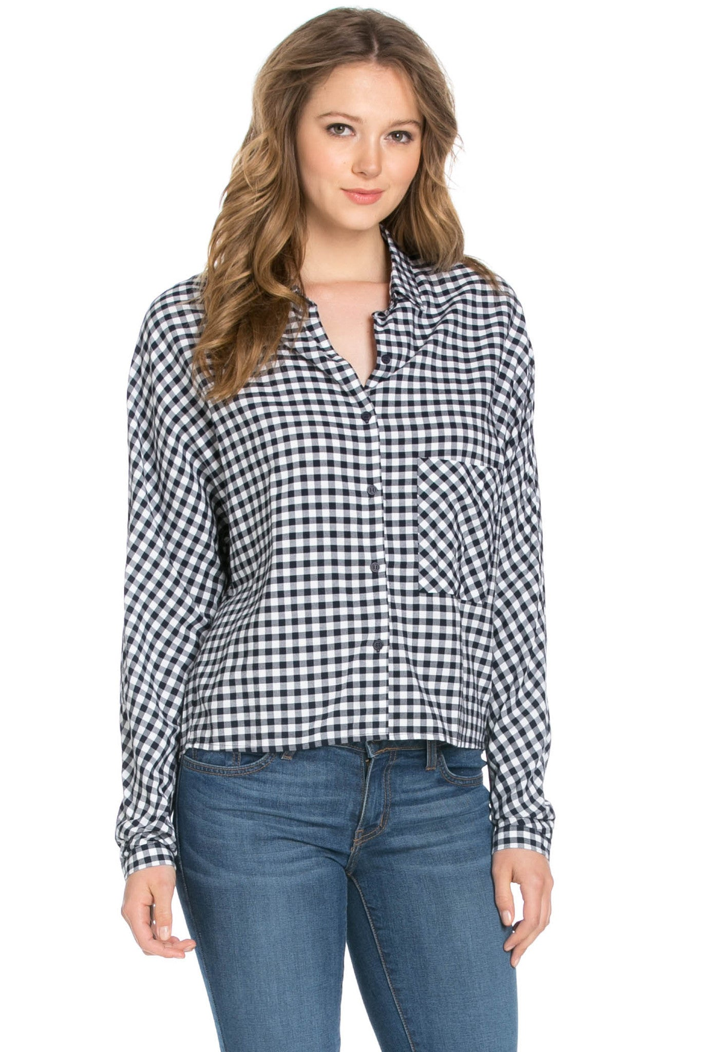 Gingham Shirt Navy White - Shirts - My Yuccie - 1