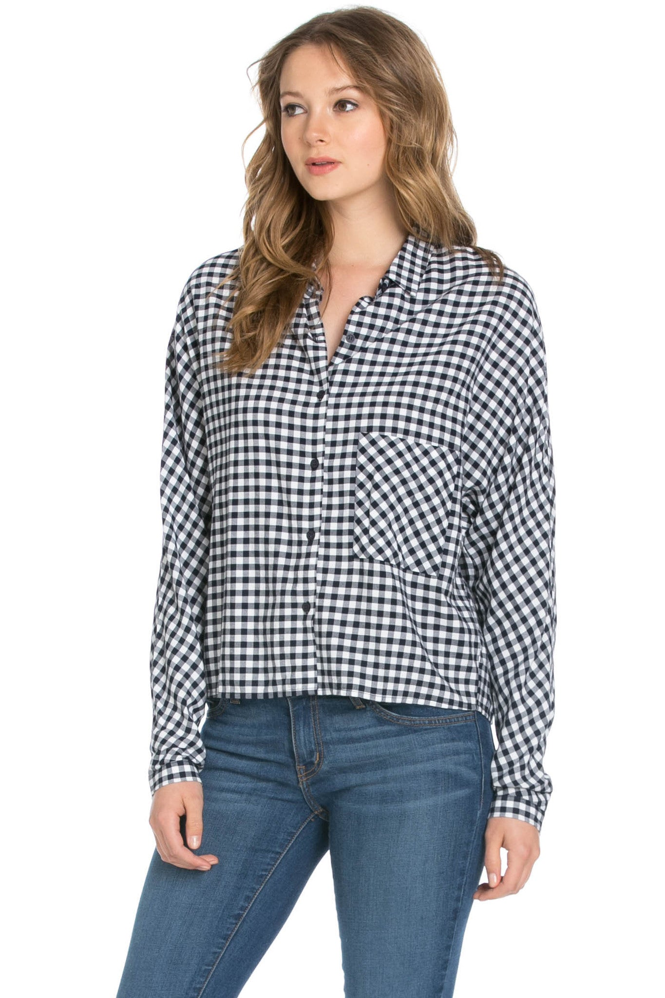 Gingham Shirt Navy White - Shirts - My Yuccie - 2