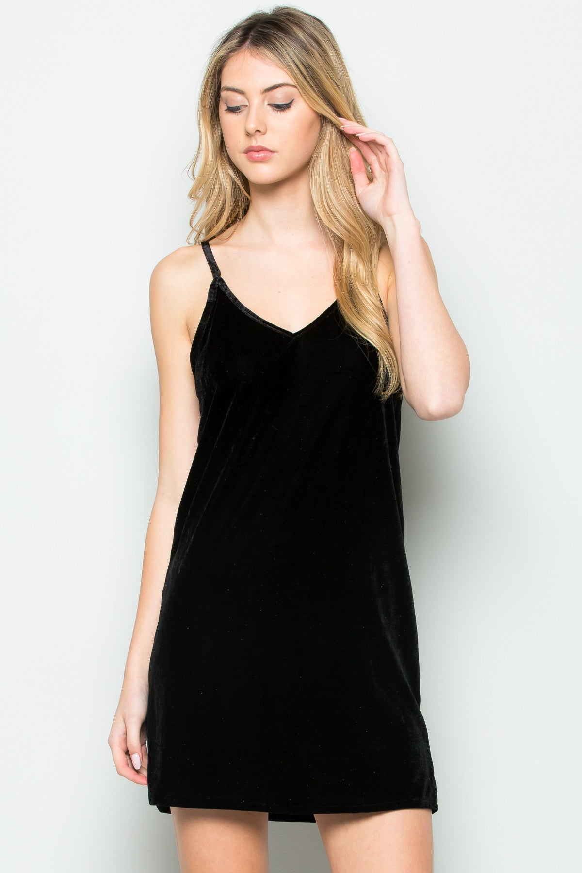 Open Back Crush Velvet Cami Slip Dress in Black - Dresses - My Yuccie - 1