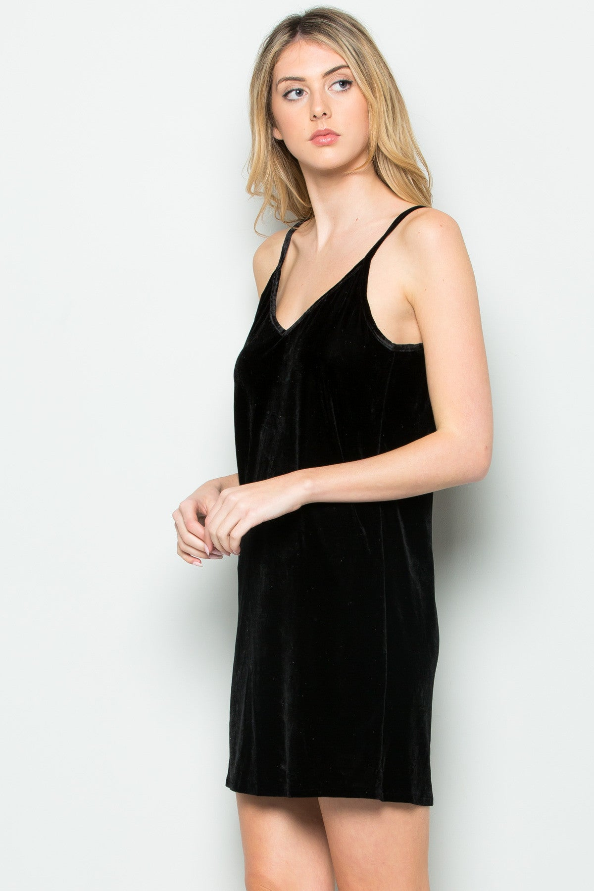 Open Back Crush Velvet Cami Slip Dress in Black - Dresses - My Yuccie - 2