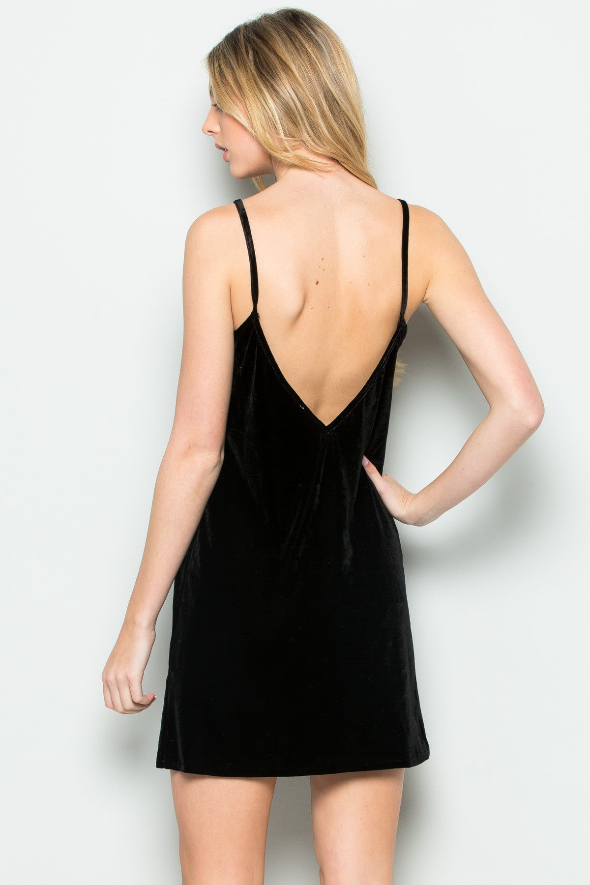 Open Back Crush Velvet Cami Slip Dress in Black - Dresses - My Yuccie - 3