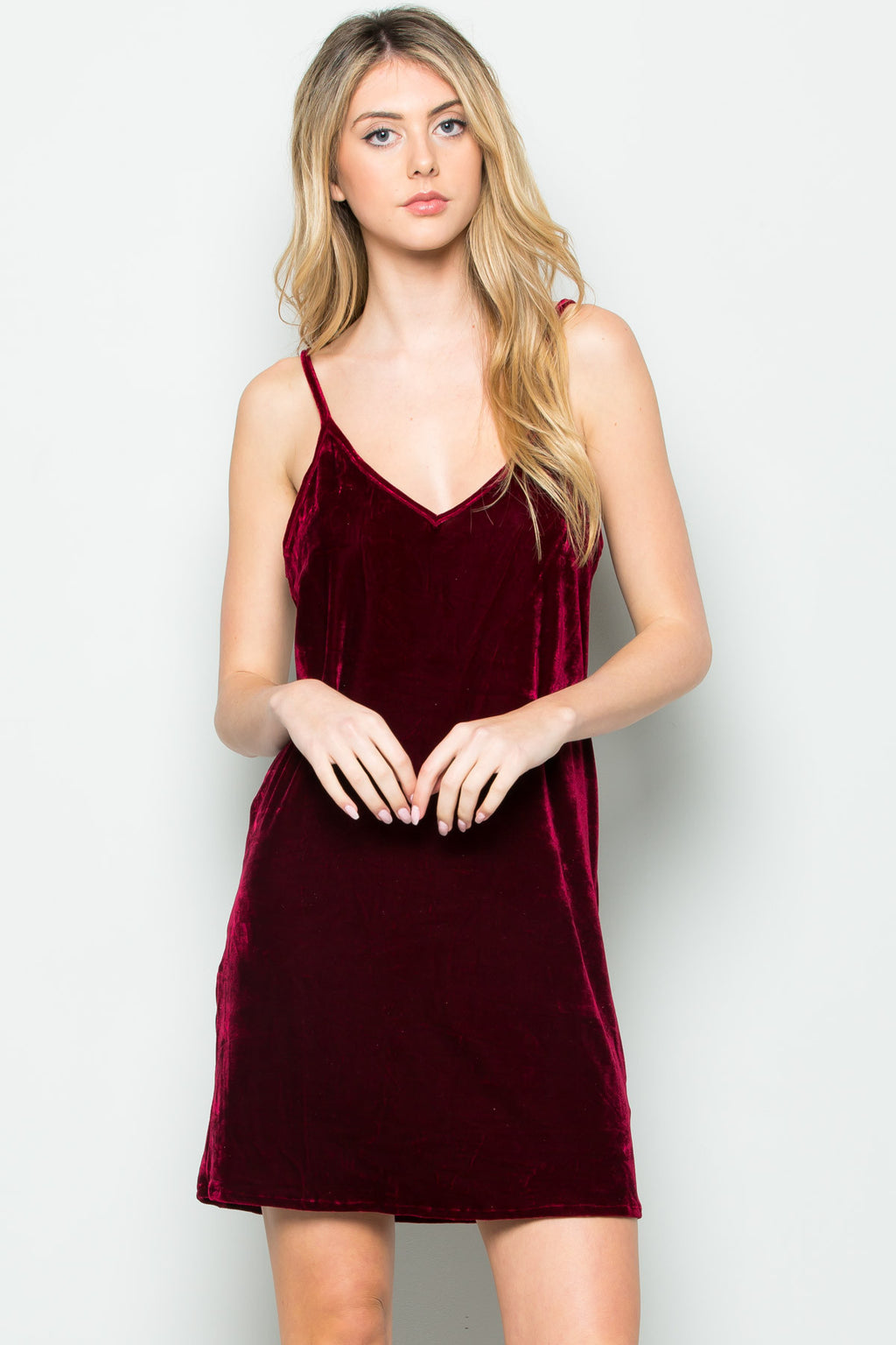 Open Back Crush Velvet Cami Slip Dress in Burgundy - Dresses - My Yuccie - 2
