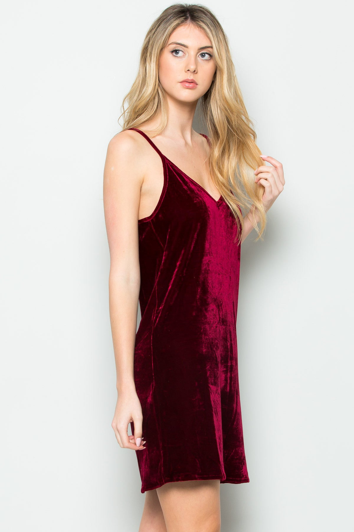 Open Back Crush Velvet Cami Slip Dress in Red - Dresses - My Yuccie - 7