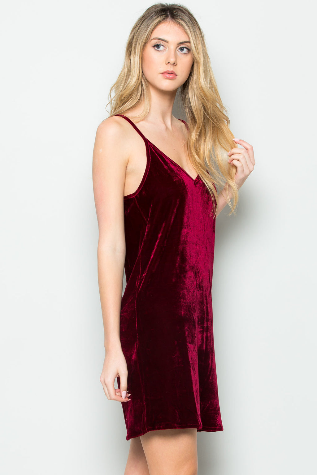 Open Back Crush Velvet Cami Slip Dress in Burgundy - Dresses - My Yuccie - 1