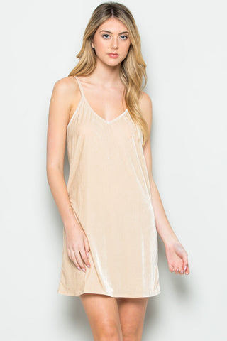 Open Back Crush Velvet Cami Slip Dress in Champagne - Dresses - My Yuccie - 1