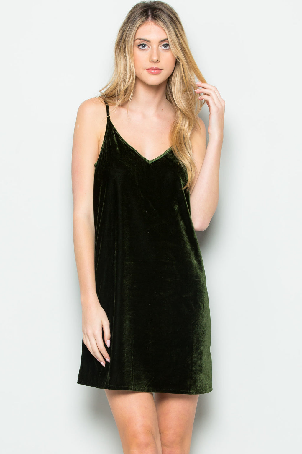 Open Back Crush Velvet Cami Slip Dress in Olive - Dresses - My Yuccie - 2