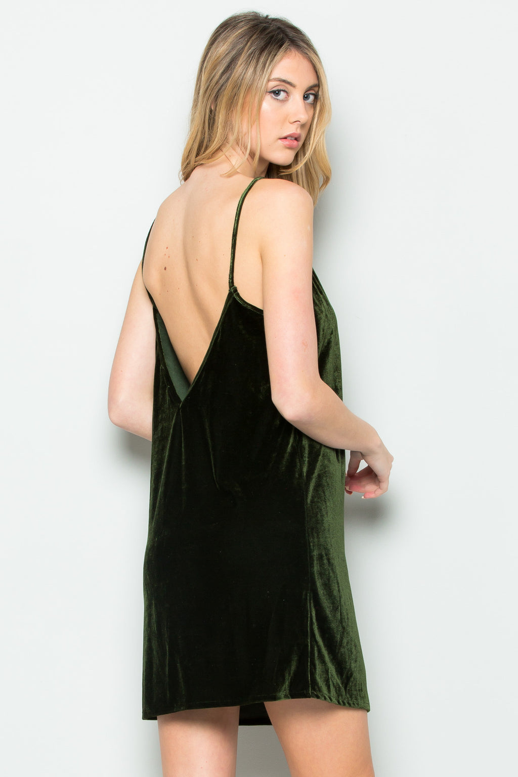 Open Back Crush Velvet Cami Slip Dress in Olive - Dresses - My Yuccie - 1