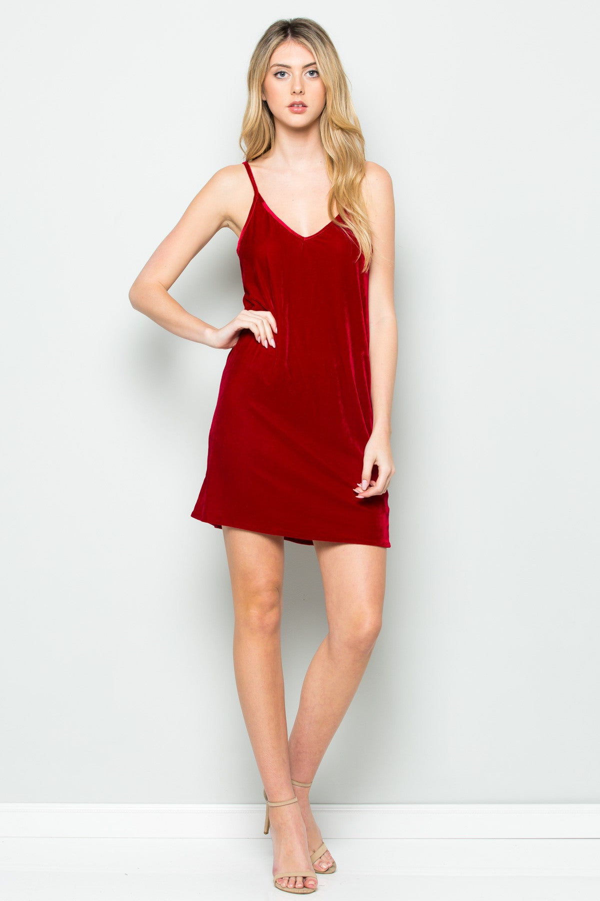Open Back Crush Velvet Cami Slip Dress in Red - Dresses - My Yuccie - 9