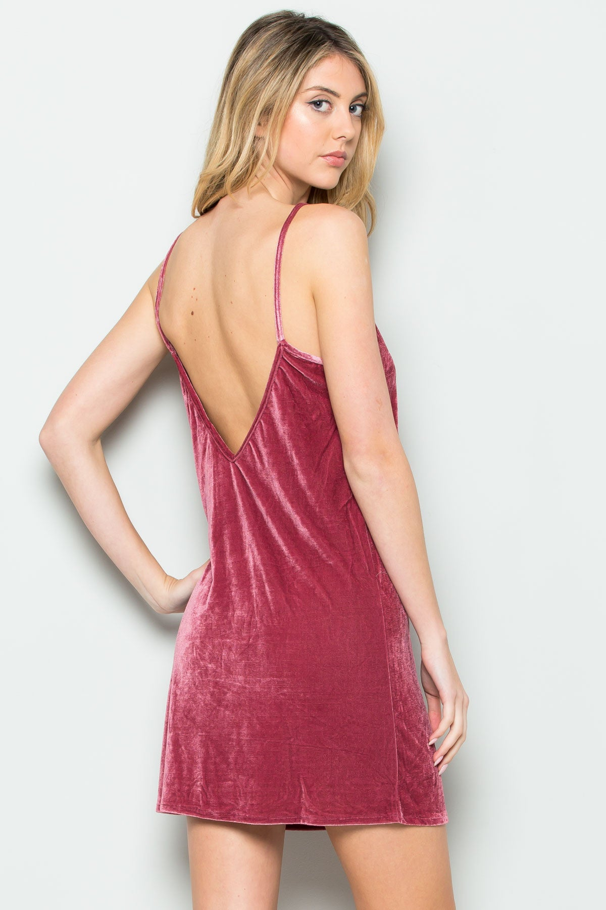 Open Back Crush Velvet Cami Slip Dress in Black - Dresses - My Yuccie - 5