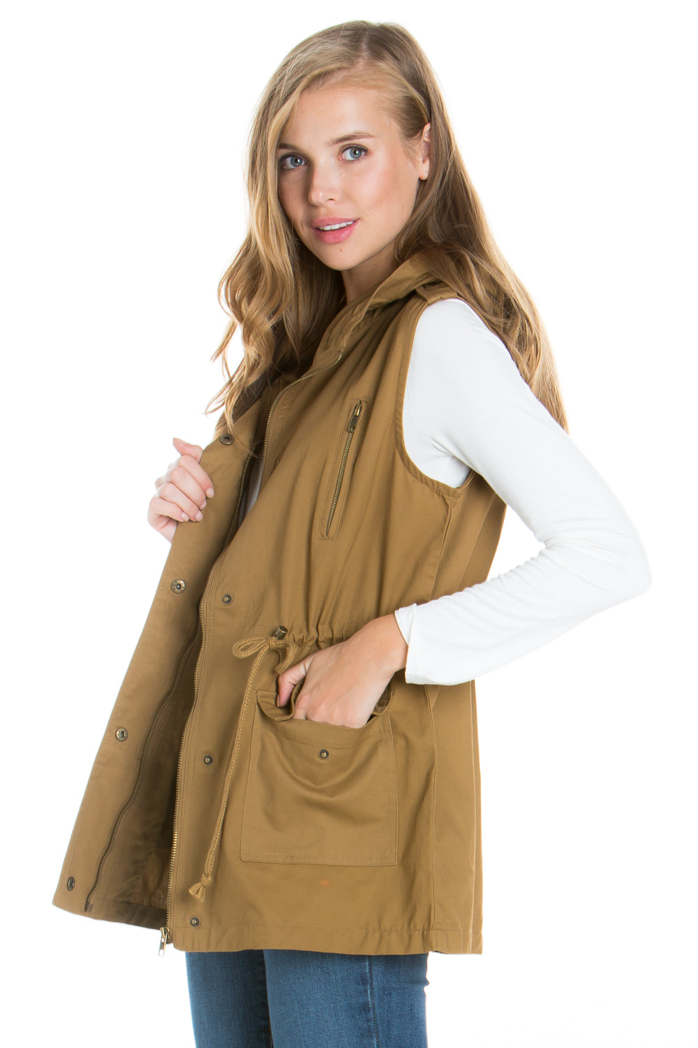 Coffee Anorak Military utility Jacket Vest with Drawstring
