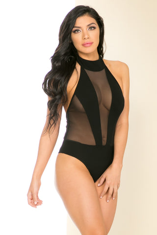 Sheer Black Choker Bodysuit - Bodysuit - My Yuccie - 1