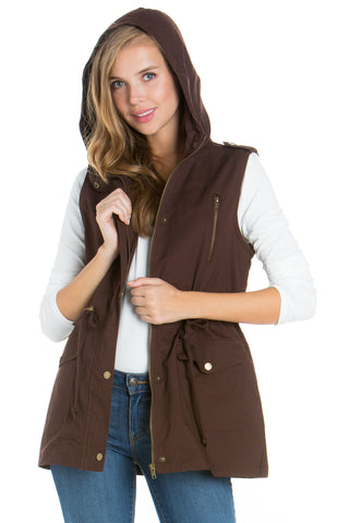 Brown Anorak Military utility Jacket Vest with Drawstring