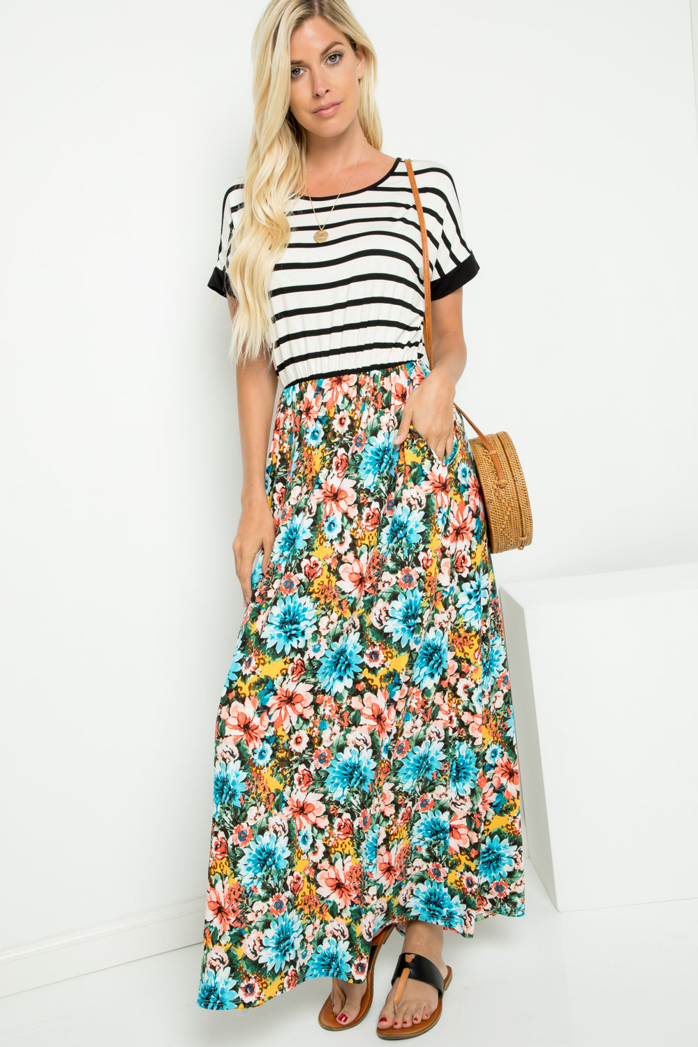 Black Striped and Floral Maxi Dress