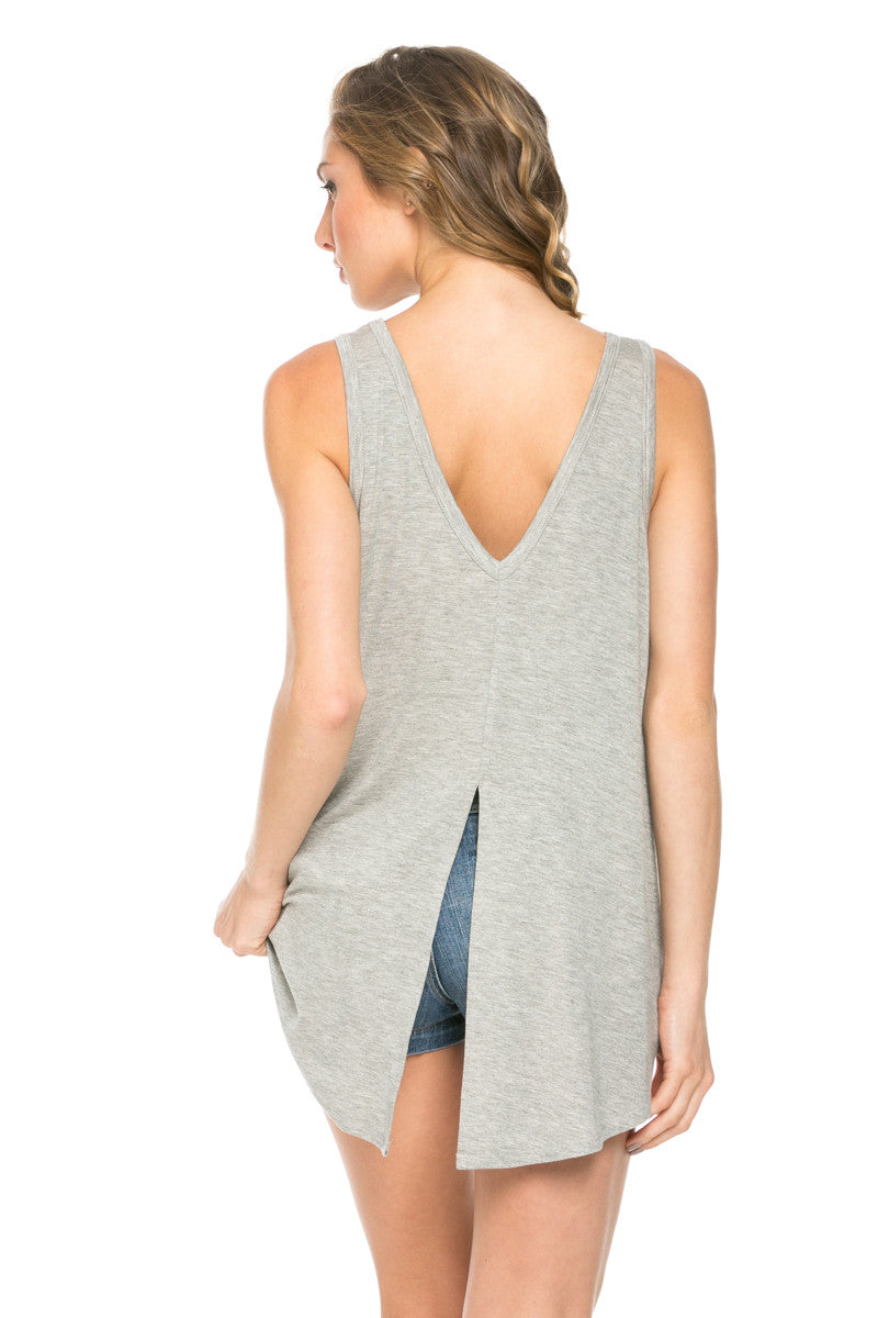 Sleeveless Split Back Wild and Free Graphic Tee Hgrey - Graphic Shirts - My Yuccie - 3