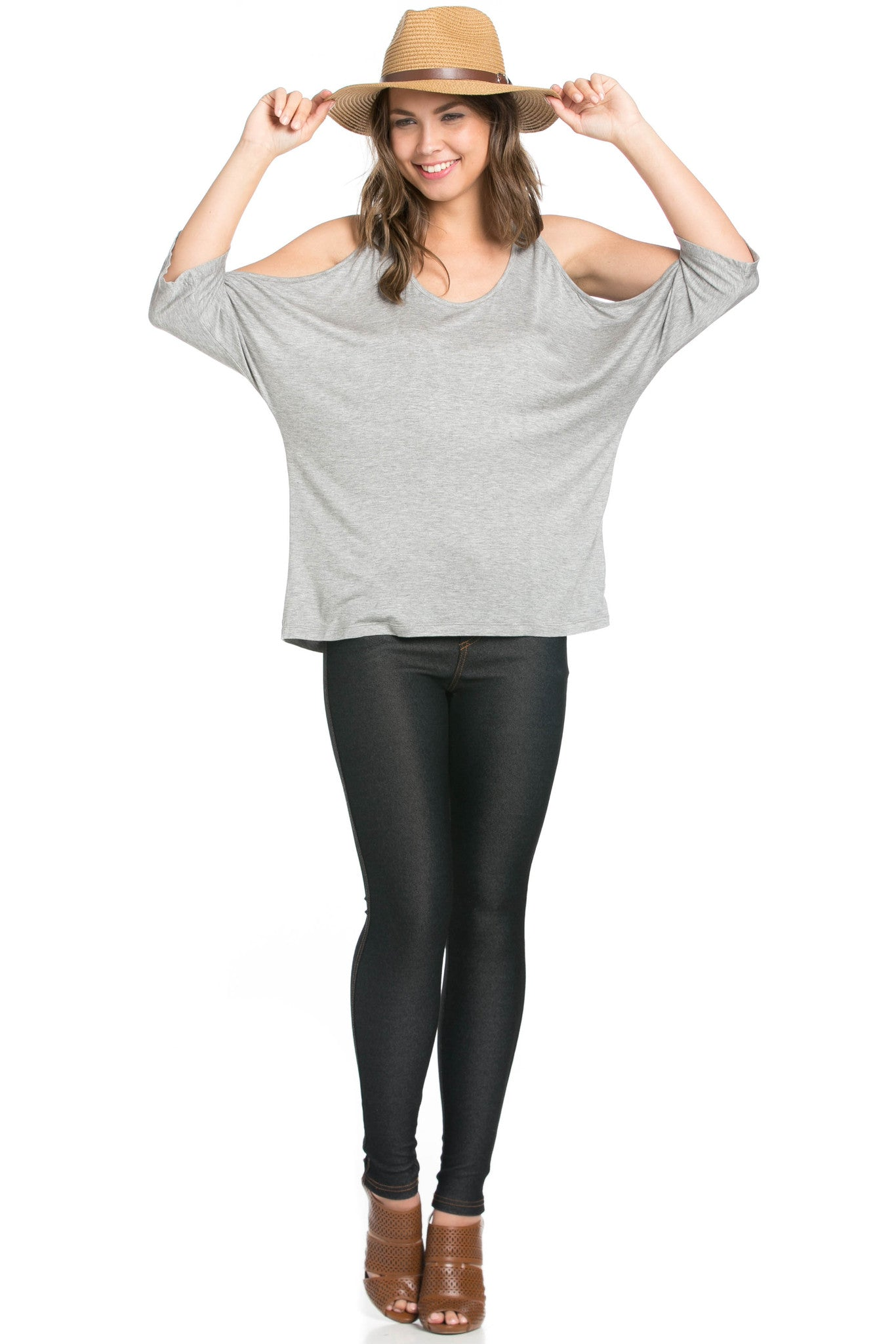 Classic Cold Shoulder Top Heather Grey - Tops - My Yuccie - 5