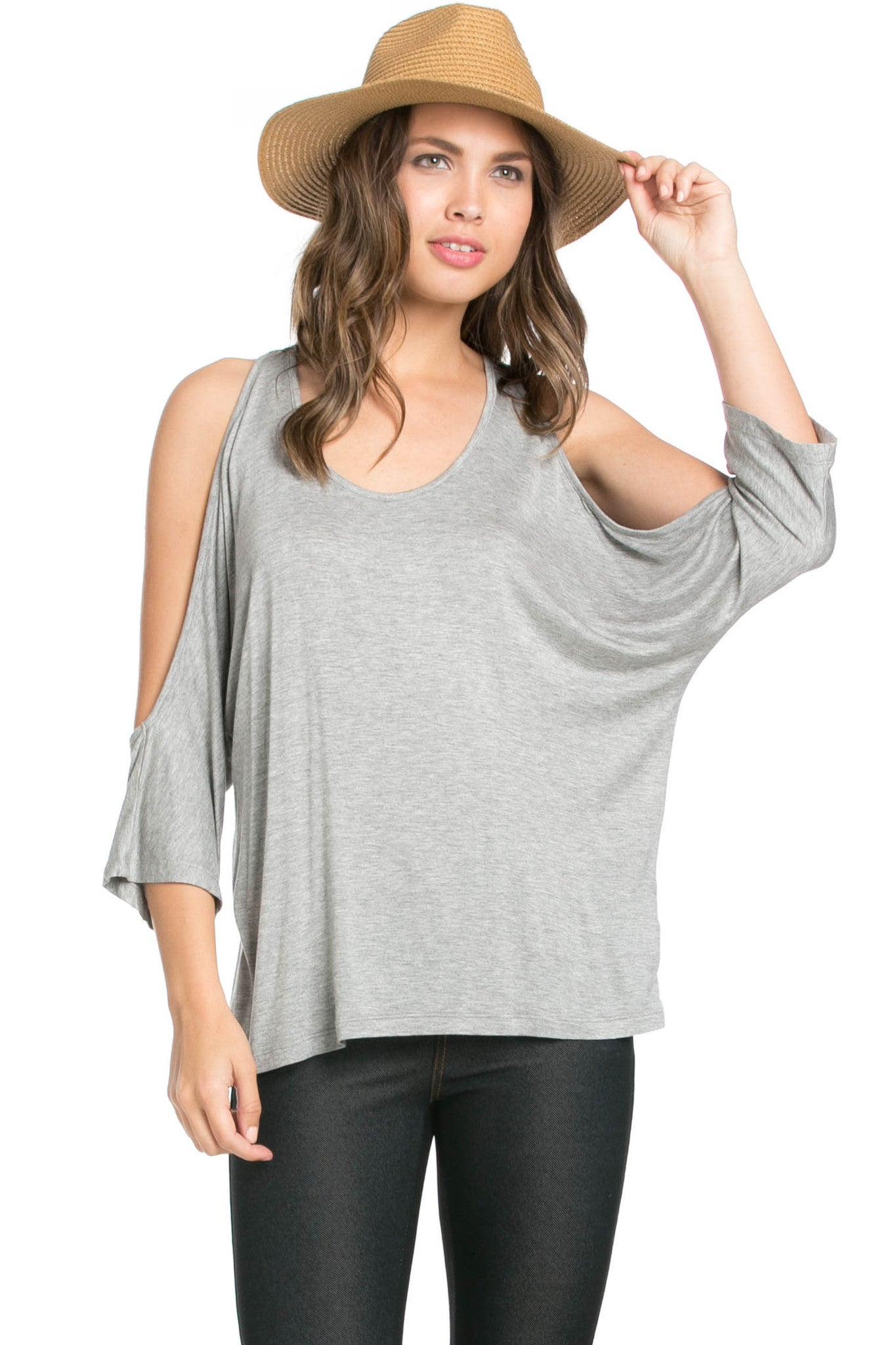 Classic Cold Shoulder Top Heather Grey - Tops - My Yuccie - 1